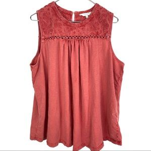 Lucky Brand Boho Burnout Embroidered Cutout Top 3X